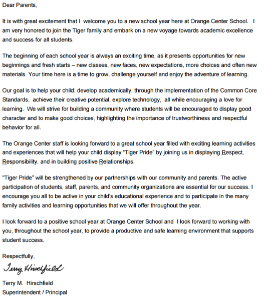 Orange Center School District - Welcome Back Tigers - A